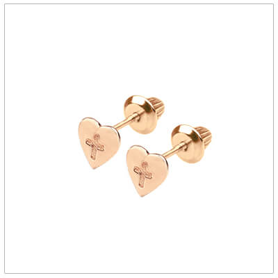 Rose gold heart earrings for babies and children with engraved Cross. Rose gold screw back earrings.