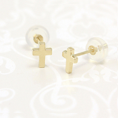 Small Cross earrings for children in 14kt yellow gold with safety backs.