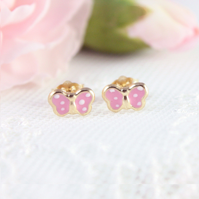 14kt pink polka dot butterfly earrings for babies and toddlers.