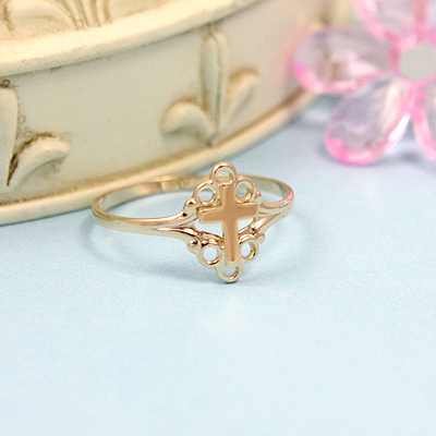 Girls 10kt Gold Cross Ring - 1453