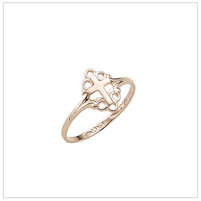Girls 10kt Gold Cross Ring
