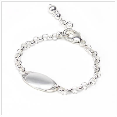 Baby and toddler id bracelet in sterling silver. Engraving for bracelet is included.