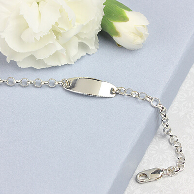 Silver id bracelet for baby and toddler boys.