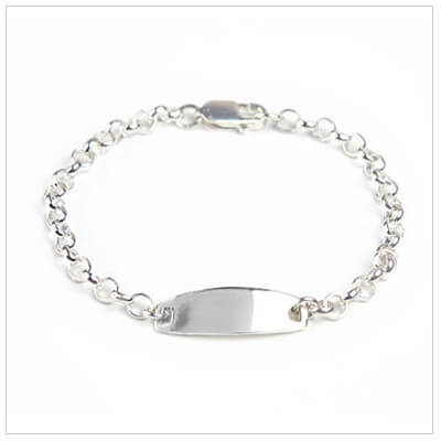 Baby boy id bracelet in sterling silver. Engraving is included.