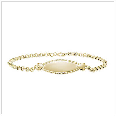 14kt gold filled id bracelet for girls with two hearts and beaded edge.