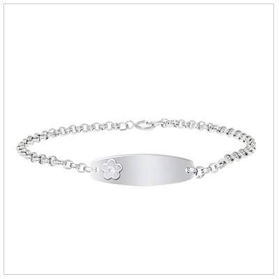 Girls id bracelet in sterling silver with flower design and set with a diamond.