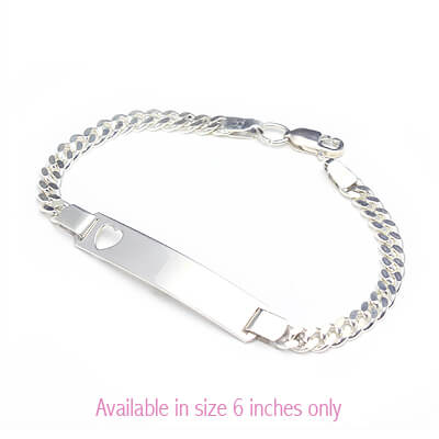 Kids id bracelet in sterling silver with a heart cut out and curb chain.