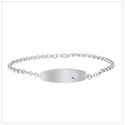 Girls sterling silver id bracelet set with genuine diamond. Front engraving included.