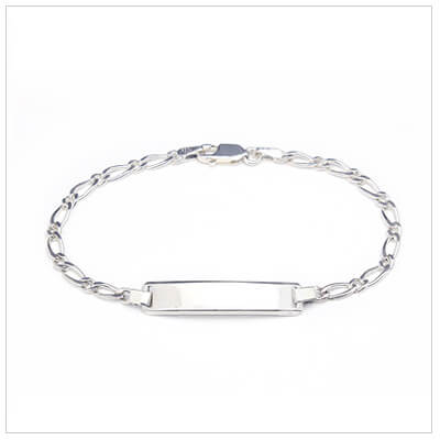 Traditional id bracelet for kids in sterling silver. Front engraving is included.