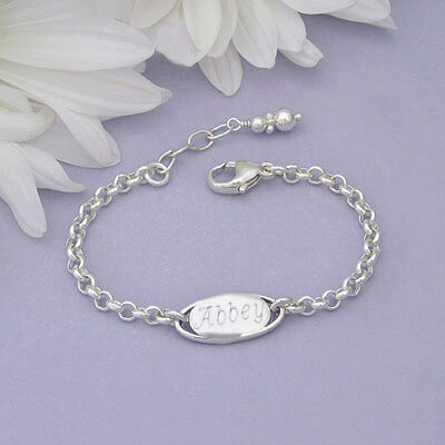 Baby and toddler id bracelet in sterling silver with extension chain and engraving included.
