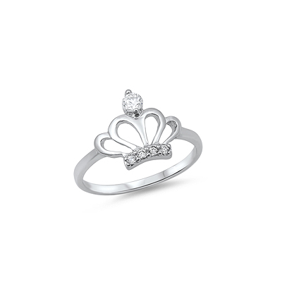 Sterling silver princess ring for girls set with clear cubic zirconia.