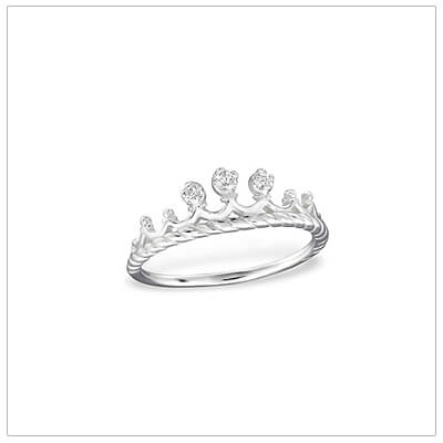 Adorable sterling silver princess crown ring for children with 3 tiny cz's.
