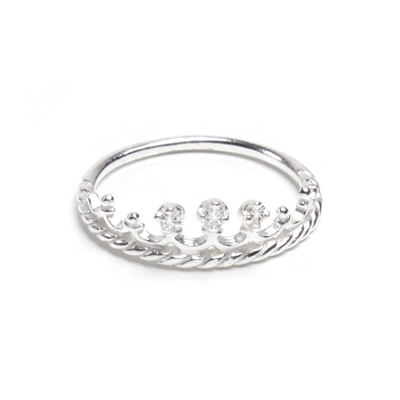 Princess crown ring for children in sterling silver with 3 tiny cz's.