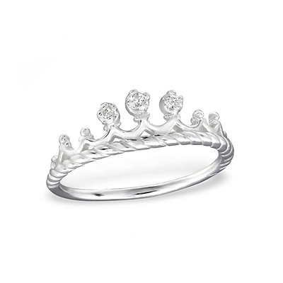 Sterling silver princess ring for children with 3 tiny cz's.