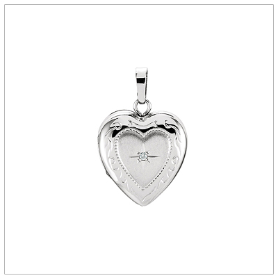 "14kt white gold heart locket with genuine diamond. Engrave back, 14"" white gold chain included."