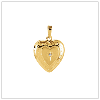 14kt Gold Diamond Heart Locket - 1482-yellow