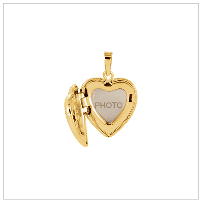 Heart shaped diamond locket holds two small photos.