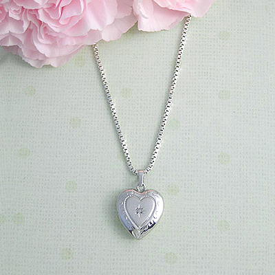 Sterling silver heart locket with genuine diamond for girls, holds small photo and custom engrave back.