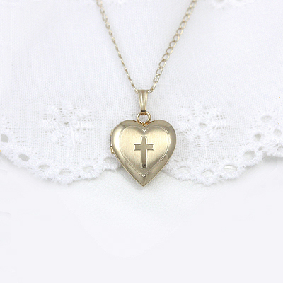 14kt gold filled heart locket with engraved Cross design, personalize the back with engraved initials.