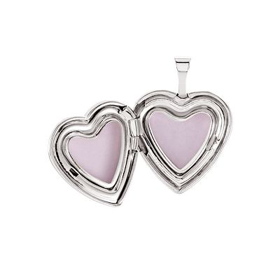 Sterling silver heart locket open view.