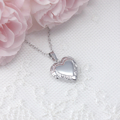 Sterling Embossed Heart Locket with custom engraving on front and back