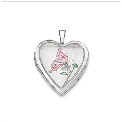 Sterling silver heart locket with a soft pink butterfly for girls. The locket holds two small photos.