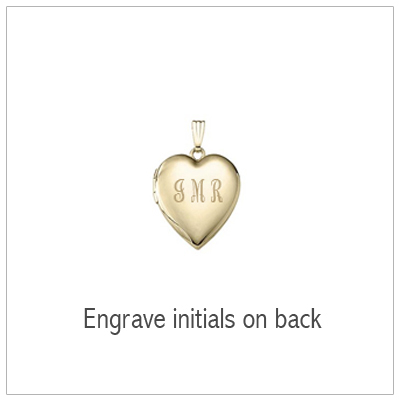 14kt gold locket back with engraved initials.