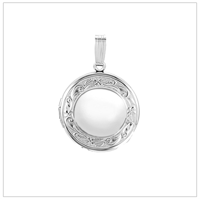 Sterling silver locket necklace in a round shape with an embossed border. This beautiful locket can be personalized on the front and back with custom engraving.