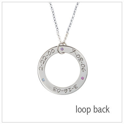 Sterling silver loop mom necklace with 3 engraved dates and 3 genuine birthstones included with the necklace.
