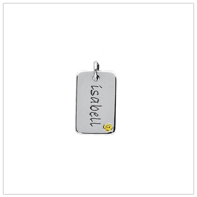 Sterling silver mini tag mothers necklace with genuine birthstone. Engravable front and back, included.