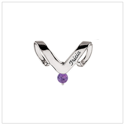 10kt white gold personalized jewelry slide for mothers with one birthstone and engraved name.