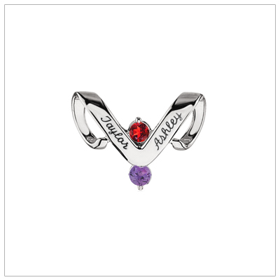 10kt white gold personalized jewelry slide for mothers with two birthstones and engraved names.