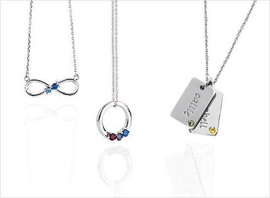 Mothers family birthstone necklaces in sterling silver styles with birthstones and engraving.