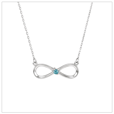 Beautiful mom necklace with a genuine birthstone set in a sterling infinity design.