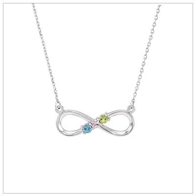 Beautiful mom necklace with three genuine birthstones set in a sterling infinity design.
