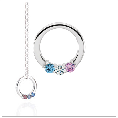 Sterling silver circle mothers necklace with genuine faceted birthstones; a great new style and classy look.