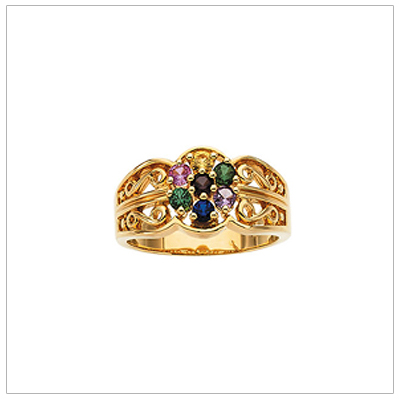 10kt Gold Scroll Pattern Mothers Rings