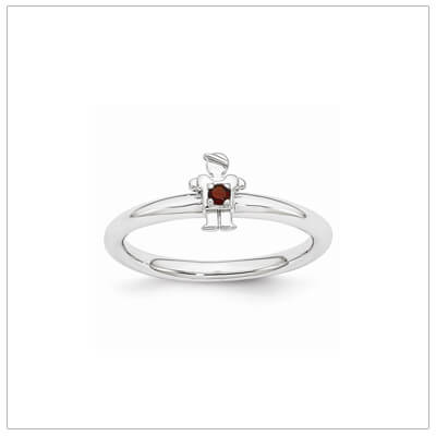 Sterling silver mother ring with a tiny boy on top set with a genuine garnet for January.