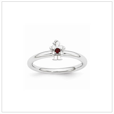Sterling silver mother ring with a tiny girl on top set with a genuine garnet for January.