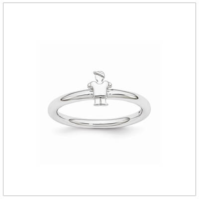 Sterling silver mothers ring with a tiny little boy in a baseball cap, stackable rings.