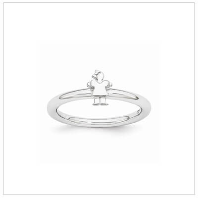 Sterling silver mothers ring with a tiny girl with a bow, stackable rings.