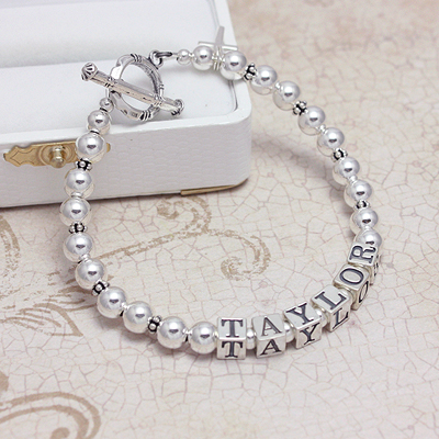 All Silver Name Bracelets with personalized name and all sterling beads