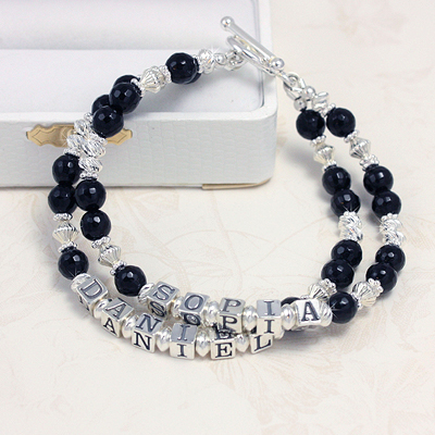 Onyx and Silver Double Name Bracelets with a double strand of black onyx and diamond cut sterling