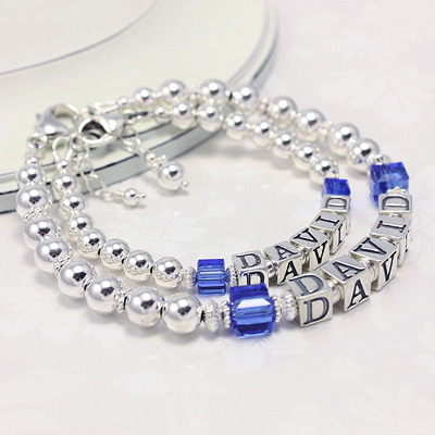 Birthstone Bracelets Mother Son Jewelry