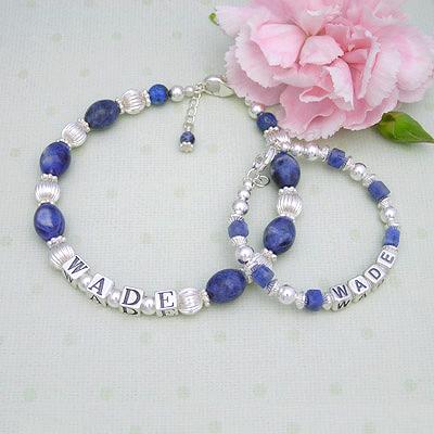 Little Boy Blue Name Bracelets Mother & Son Bracelets, Heirloom Bracelet, Heirloom gift,