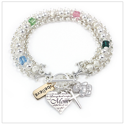 Mothers Birthstone Charm Bracelets with 4 charms and birthstones