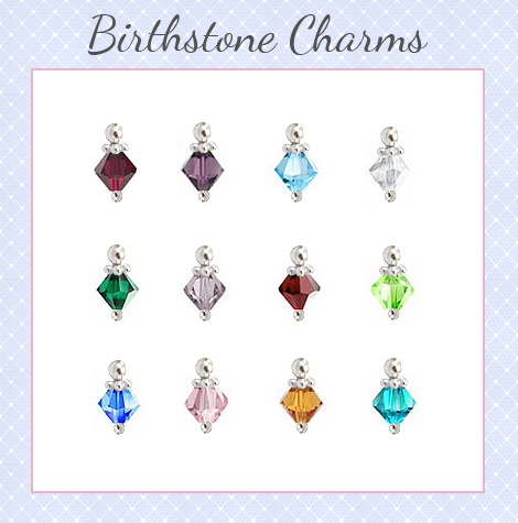 Birthstone charm options for personalized necklace.