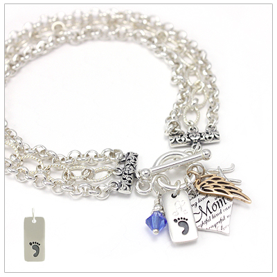 Mothers charm bracelets that include one engraved charm, mothers heart charm, birthstone charm, and one other choice of charms.