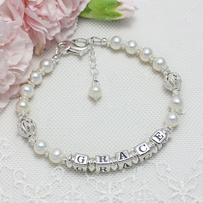 Name Bracelets with filigree silver beads and cultured pearls.