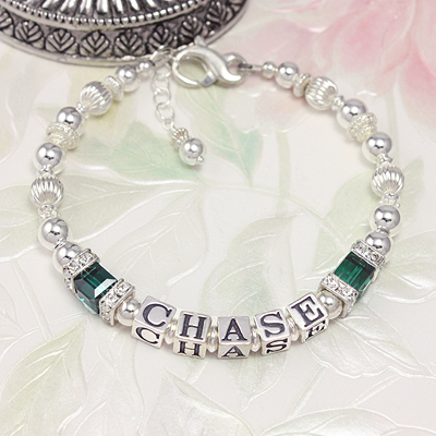 Favorite! Personalized bracelets with crystal birthstones and silver cz squares. 1 or 2 strands.